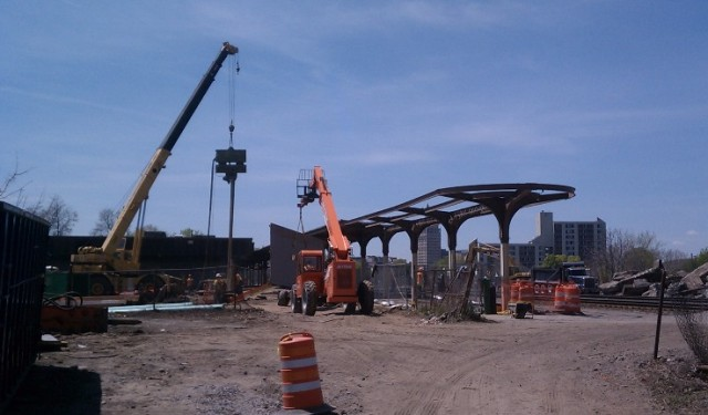Removal of Canopy Roof. May 8, 2015. [PHOTO: NYSDOT]