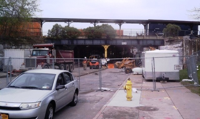 N. Clinton Avenue closed April 20, 2015, for the railroad bridge to be strengthened to handle the track realignment above. May 8, 2015. [PHOTO: NYSDOT]