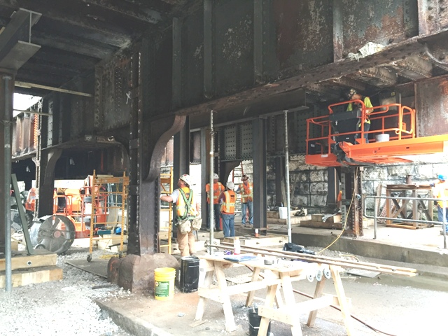 Clinton Ave bridge crew is replacing bridge beam components. I-beams and jacks support the bridge while repairs are made. 6-23-15 [PHOTO: NYSDOT]