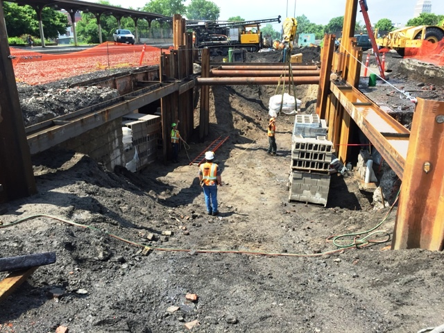 Concrete block is staged to bulk head the tunnel. 7-1-15 [PHOTO: NYSDOT]