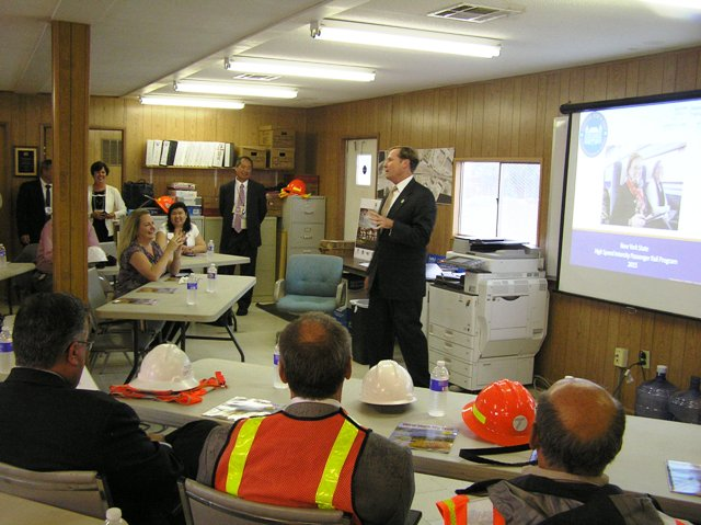 NYSDOT Commissioner Driscoll gives a presentation about the Rochester Station. 7-9-15 [PHOTO: NYSDOT]