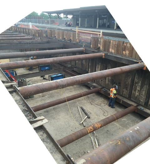 Platform sheeting and shoring, bottom horizontal support installation. Looking Southeast. 8-3-15 [PHOTO: NYSDOT]