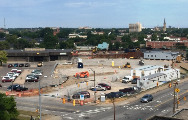 View of Old and New Temporary RR Stations. Rochester's temporary Rail Road Station (Middle Right side of photo). Old Station located on left side of photo. 4-15-15 [PHOTO: NYSDOT]