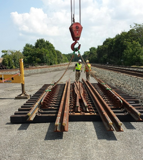 A switch is a mechanical installation enabling railway trains to be guided from one track to another, such as at a railway junction or where a spur or siding branches off. 8-14-15 [PHOTO: NYSDOT]