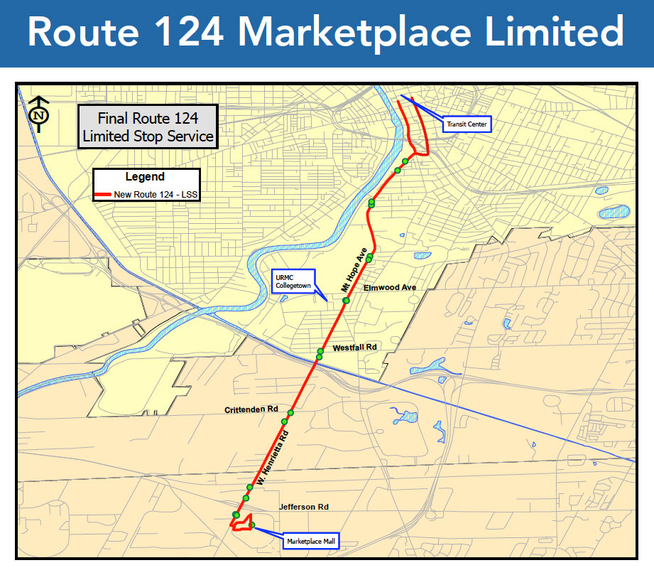 New RTS Route 124 from downtown to Marketplace Mall in Henrietta.