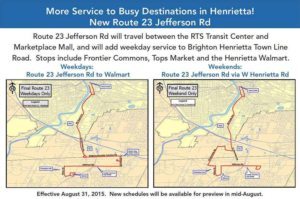 RTS has announced changes and additions to routes serving Henrietta. Changes will take effect on August 31, 2015.